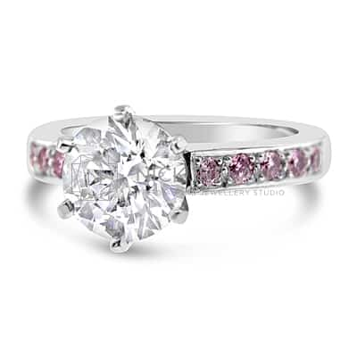 DJSP2/ ARGYLE PINK AND WHITE DIAMOND ENGAGEMENT RING
