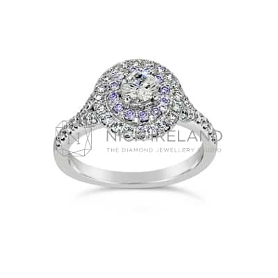 DJSP/49 18CT WHITE GOLD ARGYLE BLUE VIOLET HALO RING