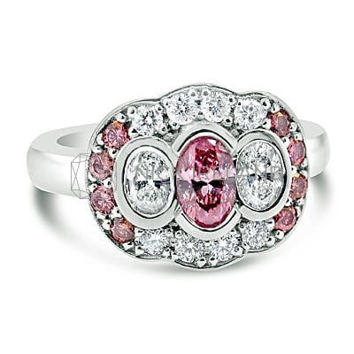 DJSP12/ 18CT WHITE GOLD ENGAGEMENT RING WITH ARGYLE PINK DIAMONDS
