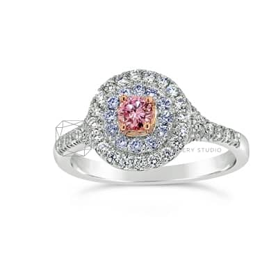 DJSP/41 18CT WHITE GOLD ARGYLE PINK AND BLUE DIAMOND HALO RING