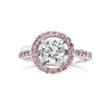DJSP/45 18CT WHITE GOLD ARGYLE PINK DIAMOND HALO