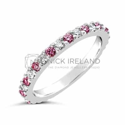 DJSP1 / ARGYLE PINK AND WHITE DIAMOND WEDDING RING