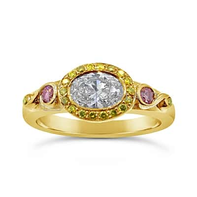 DJSP20/ 18CT DIAMOND ENGAGEMENT RING WITH ARGYLE PINK AND FANCY YELLOW DIAMONDS