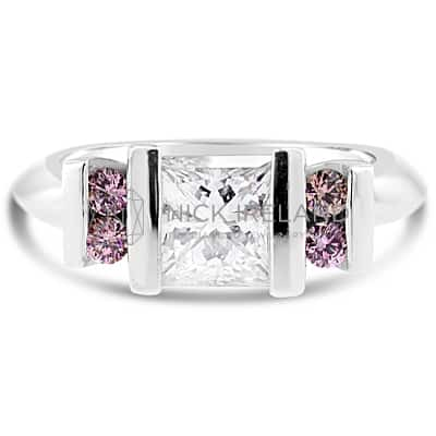 DJSP19/ PLATINUM PRINCESS CUT AND ARGYLE PINK DIAMOND RING