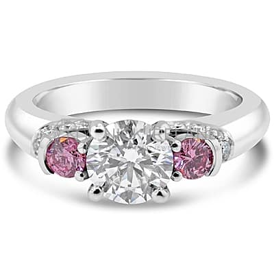 DJSP10/ PLATINUM ENGAGEMENT RING WITH ARGYLE PINKS