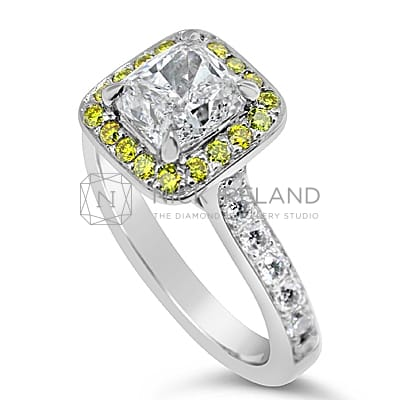 FSDR22/ 18CT YELLOW AND WHITE DIAMOND HALO RING