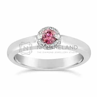 DJSP/40 18CT WHITE GOLD ARGYLE PINK RING