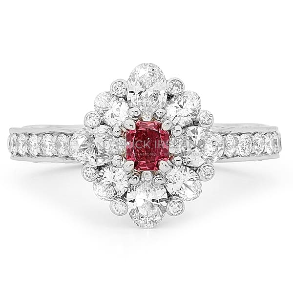 DJSP50 / PLATINUM ARGYLE PURPLE RED DIAMOND RING