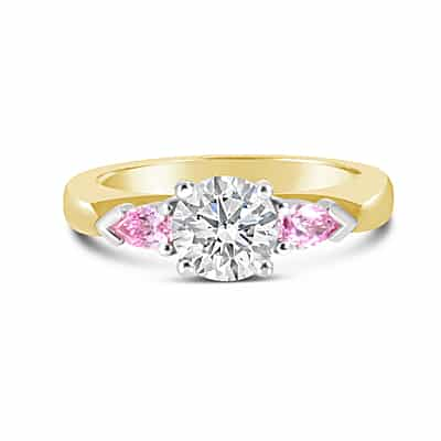 DJSP54/18ct Gold Argyle Pink Diamond 3 Stone Ring