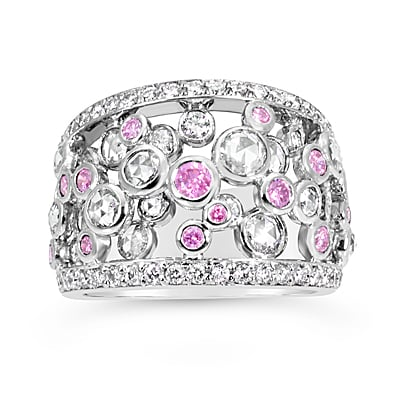 DJSP55/18ct White Gold Argyle Pink and Rose cut Diamond Ring
