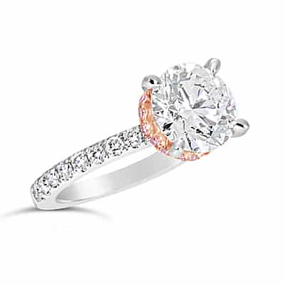 DJSP58/Platinum Argyle Pink Hidden Halo Diamond Ring