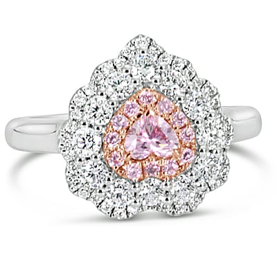 DJSP59/18ct White gold Argyle Pink Diamond Halo Ring
