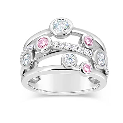 DJSP65/18ct White Gold Argyle Pink Diamond Dress Ring