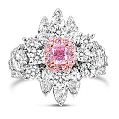 DJSP69/18ct White Gold Argyle Pink Diamond Cluster Ring