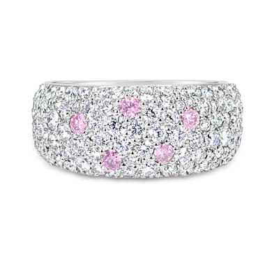 DJSP71/Platinum Argyle Pink Diamond Pave Dress Ring
