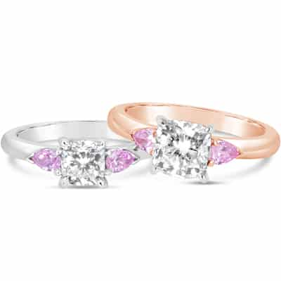 DJSP73 / Argyle 6PP Pink pear shape 3 stone Engagement Rings